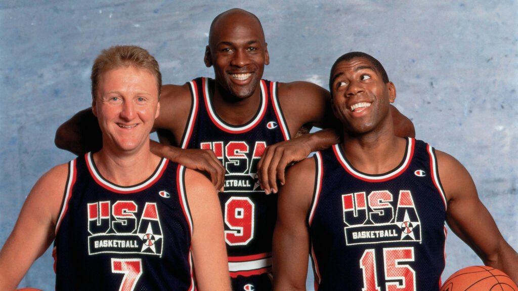 BARCELONA, SPAIN - 1992:  Larry Bird #7, Michael Jordan #9, and Magic Johnson #15 of the United States National Team pose for a photo during the1992 Summer Olympics in Barcelona, Spain.  NOTE TO USER: User expressly acknowledges that, by downloading and or using this photograph, User is consenting to the terms and conditions of the Getty Images License agreement. Mandatory Copyright Notice: Copyright 1992 NBAE (Photo byNeil Leifer/NBAE via Getty Images)